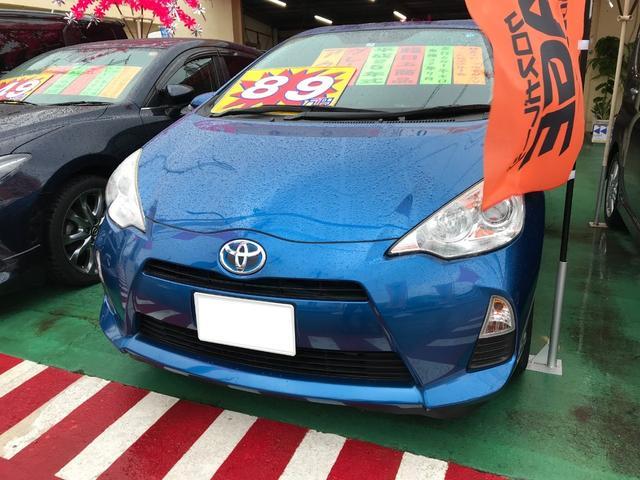 沖縄の中古車 トヨタ アクア 車両価格 89万円 リ済別 平成25年 6.1万km ブルー