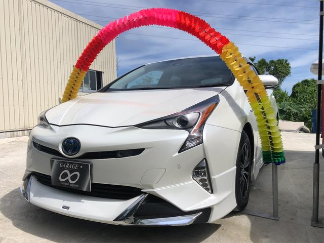 沖縄県の中古車ならプリウス A トヨタセーフティセンス ヘッドアップディスプレイ パーキングアシスト LEDライト 社外アルミホイール・フルエアロ デイライト付き 本土仕入れ・無事故車 24ヵ月保証付き