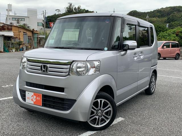 沖縄県の中古車ならN-BOX G・Lパッケージ ナビ ETC 左パワスラ 革調シートカバー