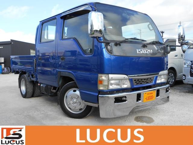 沖縄県の中古車ならエルフトラック Wキャブフルフラットロー 内地中古 5速ミッション 4800cc 軽油 最大積載量2000kg