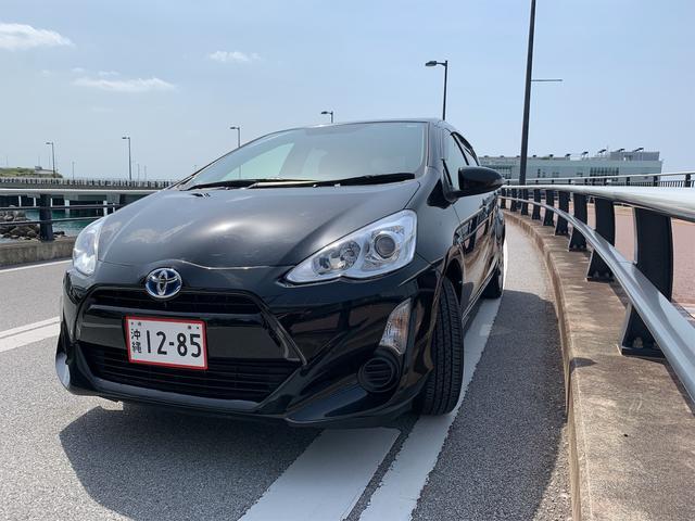 沖縄県那覇市の中古車ならアクア S 2年保証 ナビ・フルセグTV Blutooth タイヤ山9割 プッシュスタート バックカメラ