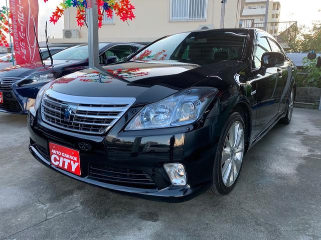 沖縄の中古車 トヨタ クラウンハイブリッド 車両価格 178万円 リ済込 2012(平成24)後 5.8万km ブラック