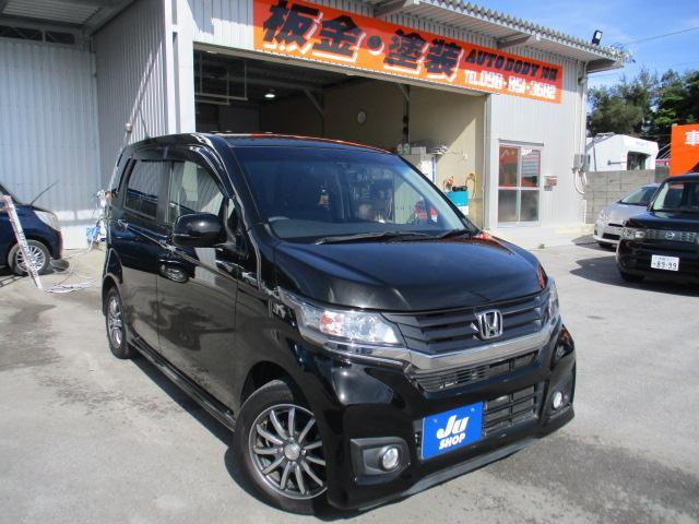 沖縄の中古車 ホンダ N-WGNカスタム 車両価格 74万円 リ済込 2015(平成27)年 7.6万km ブラック
