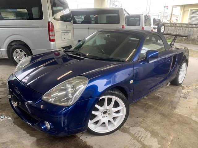 沖縄県沖縄市の中古車ならMR-S Sエディション ブルークスコ車高調・GTウィング・社外フロントフェンダー・前後タワーバー・ロールバー