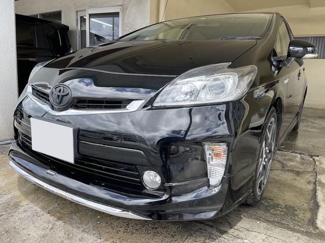 沖縄県の中古車ならプリウス S モデリスタフルエアロ SDナビ フルセグTV Bluetooth バックモニタ 18インチアルミホイール バックモニタ 新品タイヤ