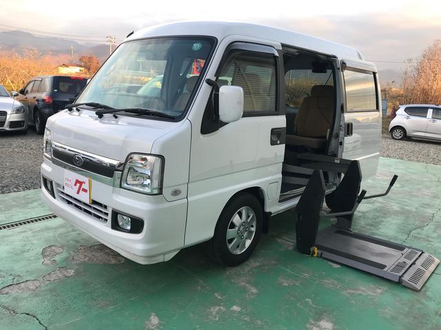 スバル ベースグレード 2WD 福祉車両 電動昇降 ETC ホワイト AT エアコン 両側スライドドア アルミホイール