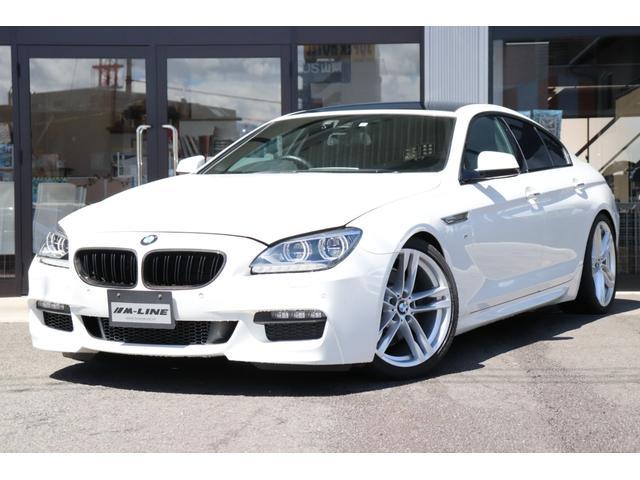 BMW 6シリーズ 640iグランクーペ Mスポーツパッケージ 純正ナビ TVフルセグ バックカメラ 黒革シート シートヒーター コンフォートアクセス ドライビングアシスト 電動チルトサンルーフ ローダウン 社外マフラー LEDヘッドライト リアローラブラインド
