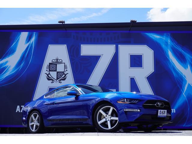 フォード マスタング プレミアム 実走行証明書付き 自社輸入車両 ベロシティブルー NICHEホイール 10AT レザーシート パワーシート コーラルデザインポニーロゴ ブライトアッパーグリル サイドデカール