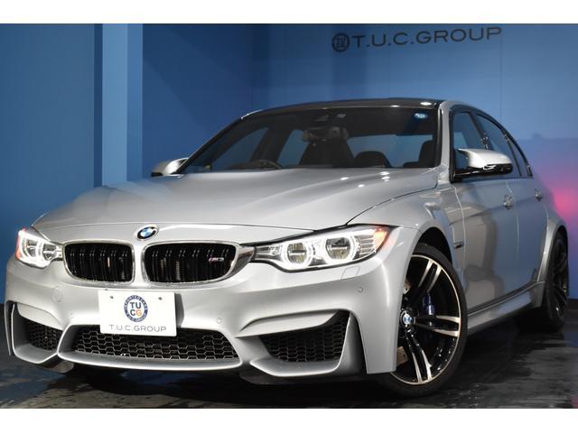 BMW M3 M3 LEDヘッドライト 後期LEDテール 可変Mサス HUD 7速DCT 稀少色 ヒーター付黒革 カーボンルーフ&インテリア 19AW 衝突軽減 車線変更&車線逸脱&歩行者警告 フルセグ 1オナ 2年保証