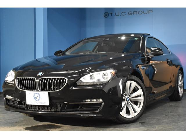 BMW 6シリーズ 640iクーペ サンルーフ LEDヘッドライト ソフトクロージャドア 車線逸脱警告 衝突軽減B ヒーター付黒革 iドライブナビ フルセグTV Bカメラ パドルシフト 18AW スマートキー 1オーナー 2年保証