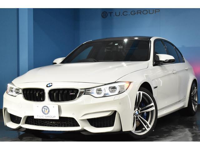 BMW M3 全席シートヒーター付黒革 LEDヘッドライト 車線逸脱警告 19インチアルミホイール 専用エアロ パドルシフト クルーズコントロール タッチパッド付iドライブ BTオーディオ&ハンズフリー 2年保証