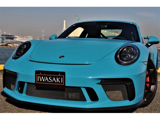 ポルシェ 911GT3 当社ファクトリーフルオーダーモデル法人1オナ禁煙屋根保管ブラックLEDヘッドライトFリフターフルレザーインテリアクラブスポーツPKGバケットシートマイアミブルーディーラー整備車両