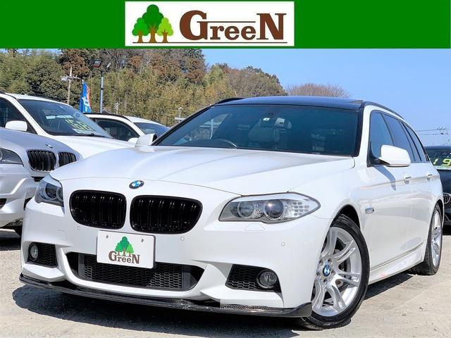 BMW 523iツーリング Mスポーツパッケージ 後期2Lターボ パノラマサンルーフ 純正Mスポーツフルエアロ 専用18AW パドルシフト アイドリングストップ Fリップスポイラー 純正HDDナビ 地デジ バックカメラ パークセンサー キセノン 禁煙