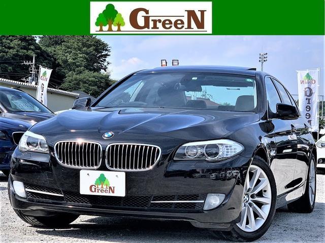BMW 5シリーズ 535i ワンオーナー車 3Lターボエンジン 黒本革シート サンルーフ 純正HDDナビ 地デジ キセノン バックカメラ パークセンサー 純正18インチAW シートヒーター ウッドパネル ミラーETC 整備記録簿