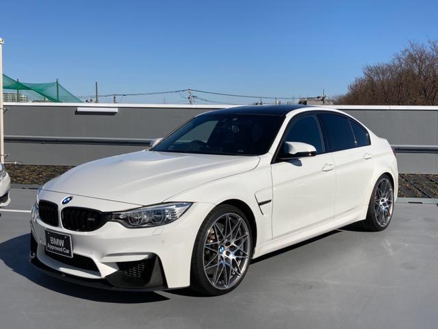 BMW M3 M3 コンペティション ドライブロジック 黒革M専用シート シートヒーター フロントリップ 20インチ専用アルミ カーボンルーフ インテリジェントセーフティー レーンチェンジウォーニング フルセグTV