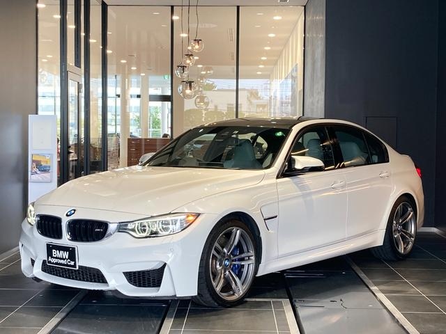 BMW M3 シルバーストーンレザーシート 19インチアルミ LED リア電動サンシェード クルーズコントロール 前後センサー レーダー シートヒーター インテリジェントセーフティ 弊社下取り1オーナー車