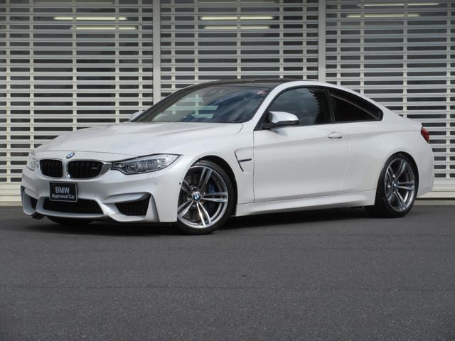 BMW M4クーペ 黒レザーシート パーキングアシスト ヘッドアップディスプレイ レーンチェンジウォーニング 地デジ付ナビ LEDヘッドライト 19インチアルミ ビルシュタイン製車高調