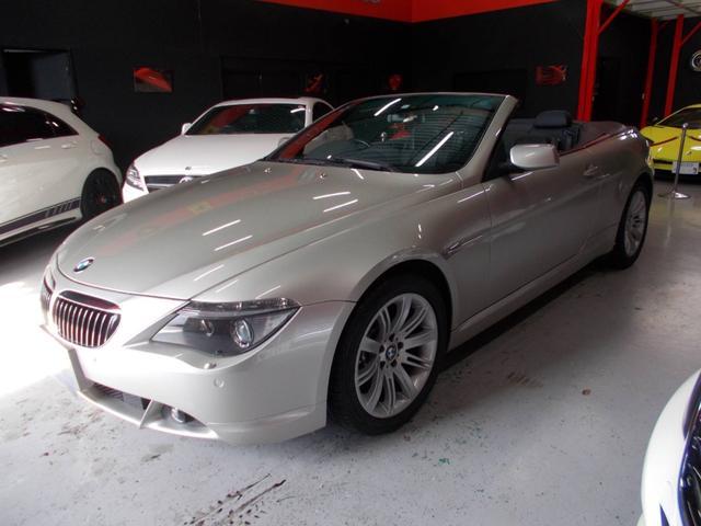 BMW 6シリーズ 645Ciカブリオレ 電動オープン キセノンヘッドライト 純正18インチ ブリジストン8分山 前後コーナーセンサー 黒革シート 純正ナビ スペアキー クルーズコントロール ディーラー整備車両 記録簿