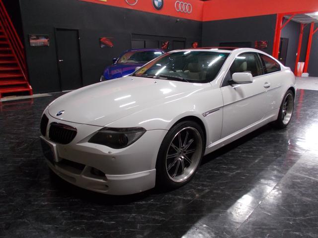 BMW 645Ci WORK20インチアルミ アルピナエアロバンパー キセノンヘッドライト オフホワイト革内装 クルーズコントロール 純正ナビ サンルーフ レーダー探知機 ETC