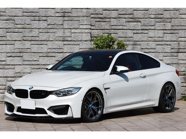 BMW M4クーペ BBS鍛造20インチAW KW ver3車高調 アクラポビッチマフラー フルレザーメリノ/サキールオレンジ パールホワイト