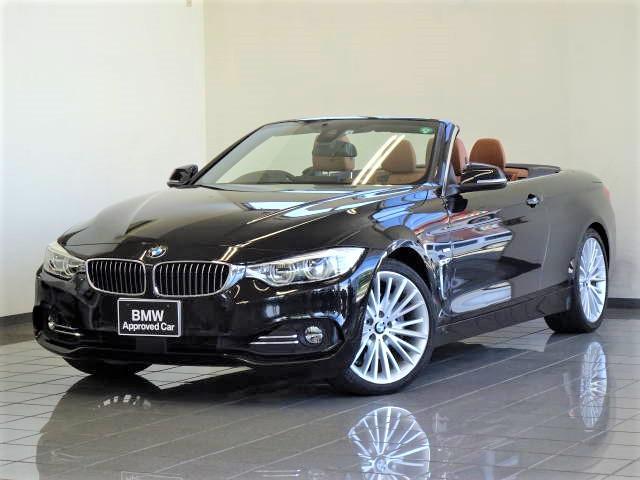 BMW 4シリーズ 435iカブリオレ ラグジュアリー サドルブラウン・ダコタレザーシート 19インチ・アロイ・マルチスポークスタイル399 リア・ビューカメラ ファインウッドドリム ドライバーアシスト アダプティブLEDヘッドライト