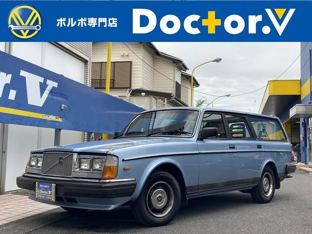 ボルボ 240ワゴン 240GLワゴン 角目四灯 LEDヘッドライト 社外CDデッキ ブルーインテリア スモールウィンドウ メッキリング 保証付