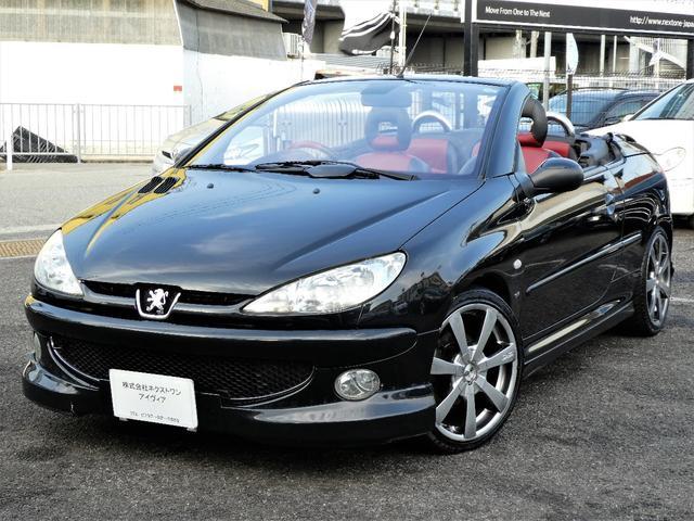 プジョー CC S16 正規D車 ナビ OZAW エアロ 赤黒レザー
