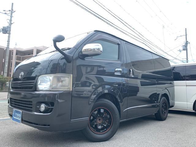 トヨタ ハイエースバン ロングスーパーGL AC100V100W電源 黒木目オーディオパネル HDDナビバックカメラ ETC シートカバー 後席シートベルト LEDヘッドライトLEDフォグLEDポジションLEDナンバーライセンス球 リアカーテン