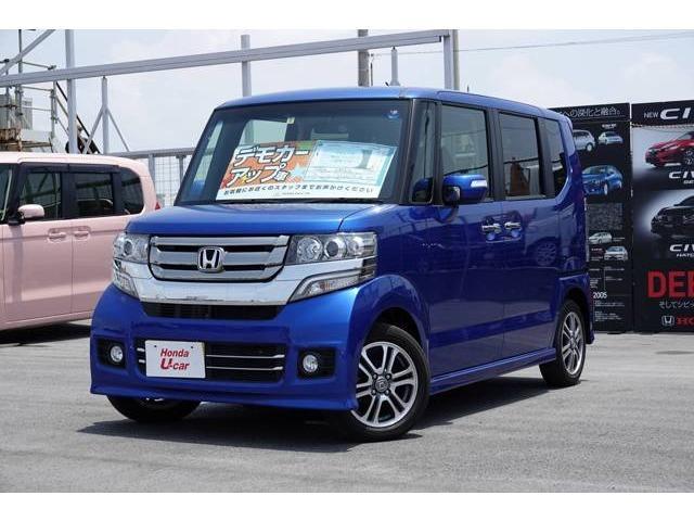 沖縄の中古車 ホンダ N-BOXカスタム 車両価格 132.8万円 リ済別 平成28年 1.3万km ブルーメタリック