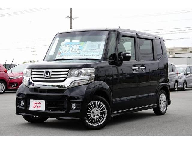 沖縄の中古車 ホンダ N-BOXカスタム 車両価格 64.8万円 リ済別 平成24年 10.5万km ブラックパール