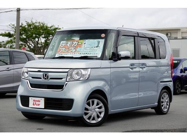 沖縄の中古車 ホンダ N-BOX 車両価格 136.8万円 リ済別 2017(平成29)年 0.7万km ライトブルーメタリック
