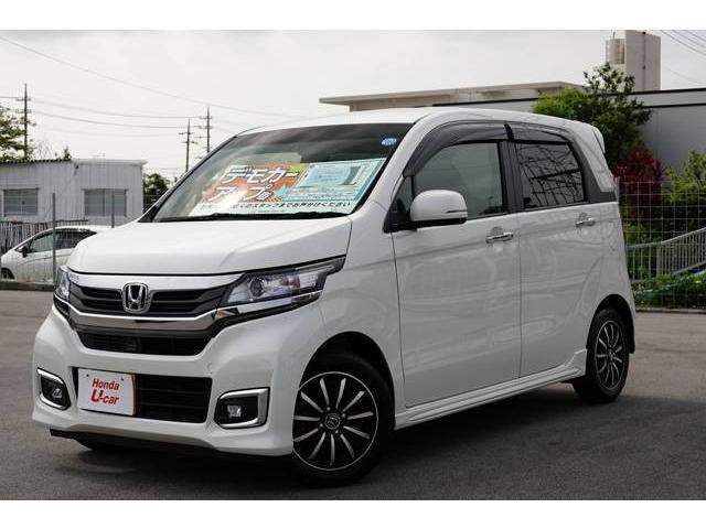 沖縄の中古車 ホンダ N-WGNカスタム 車両価格 143.8万円 リ済別 2018(平成30)年 0.3万km ホワイトパール