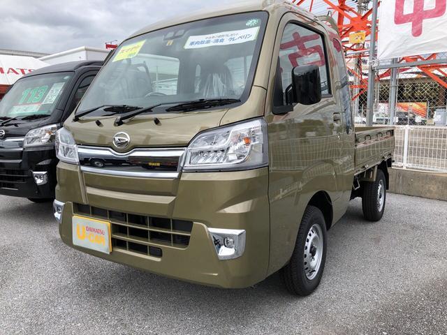 うるま市 琉球ダイハツ販売(株)中部うるま店 ダイハツ ハイゼットトラック ジャンボSAIIIt 4WD 5M/T オフビートカーキM 5km 2020(令和2)年