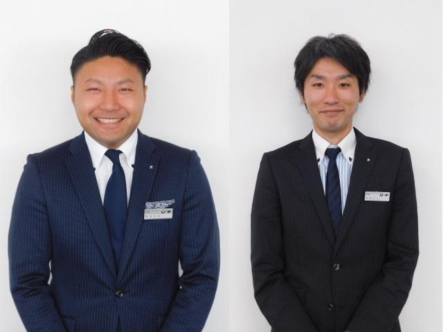 岡本(左):伊豆大島出身の26歳です。夏はサーフィン、冬はスノーボード、いつも愛車のBMWと一緒です。高橋(右):呉服屋からBMWセールスコンサルタントに転職致しました。是非私にお声掛けください。