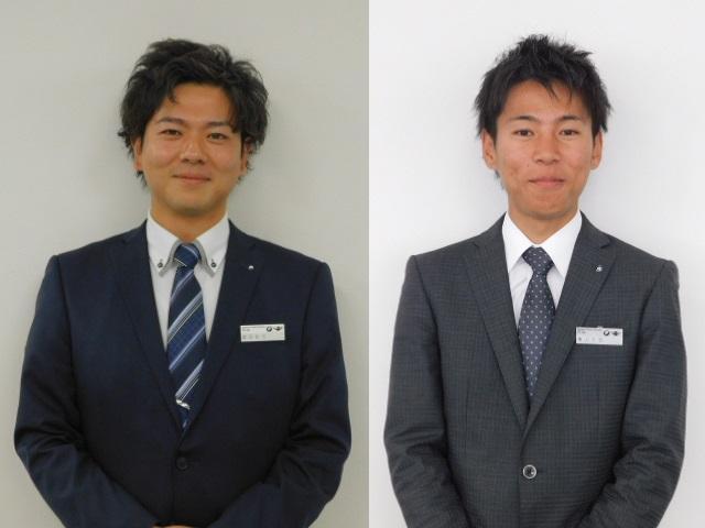 武田(左):お客様ファーストがモットーです。おもてなしの精神で精一杯努めさせて頂きます。穐山(右):大阪出身です。全力でお客様をサポート致します。お笑い以外はお気軽にご相談ください。