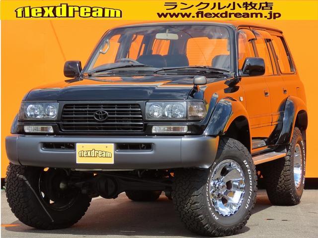 トヨタ ランドクルーザー80 VXリミテッド ローン金利1.9パーセント 120回 最終モデル 純正ブラック ワイドオーバーフェンダー リフトアップ MKW MK19 BFGoodrichATKO2 シートカバー クリスタルヘッドライト