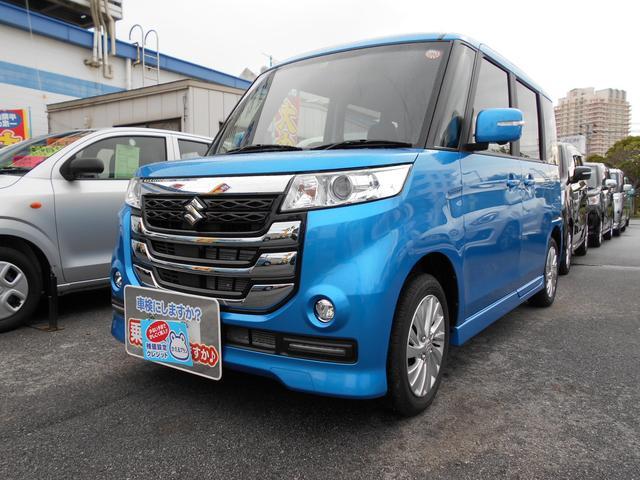 沖縄の中古車 スズキ スペーシア 車両価格 148万円 リ済別 平成29年 0.4万km ブリスクブルーメタリック