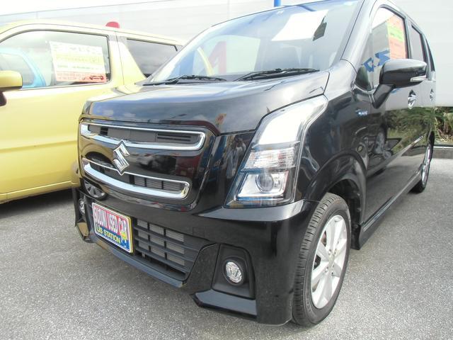 沖縄の中古車 スズキ ワゴンRスティングレー 車両価格 130万円 リ済別 平成30年 0.8万km ブルーイッシュブラックパール3