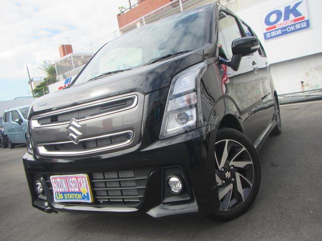 沖縄の中古車 スズキ ワゴンRスティングレー 車両価格 129万円 リ済別 2019(令和1)年 0.4万km ブルーイッシュブラックパール3