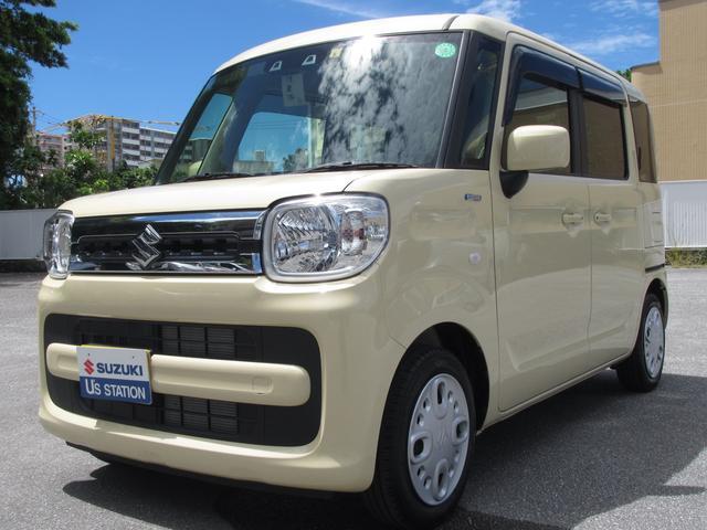 沖縄の中古車 スズキ スペーシア 車両価格 133万円 リ済別 2020(令和2)年 0.2万km シフォンアイボリーメタリック