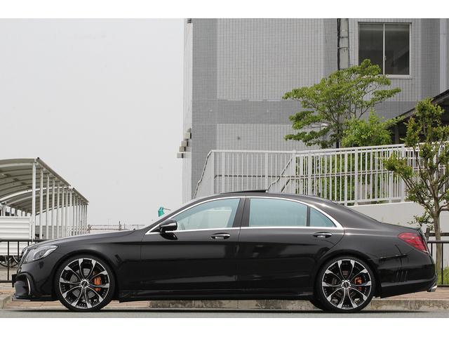 S550ロング 後期WALDカスタム Black Bison ジャレット22インチホイール 新品パーツ オレンジゴールドキャリパー パノラミックスライディングルーフ 黒本革シート レーダーセーフティ ブルメスター(6枚目)