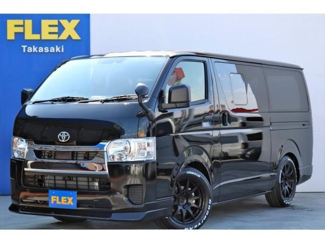 トヨタ ロングDX GLパッケージ ガソリン 2WD 6型 ブラック 1.5インチローダウン フロントスポイラー オーバーフェンダー 17インチアルミ ナスカータイヤ LEDテール シートカバー SDナビ ETC バックカメラ