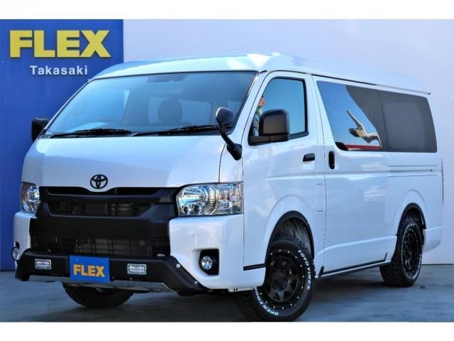 トヨタ スーパーGL ダークプライムII ガソリン 4WD 6型 パールホワイト フロントバンパーガード マッドブラック塗装 16インチアルミ オープンカントリーR/Tタイヤ LEDテール SDナビ サブモニター ETC