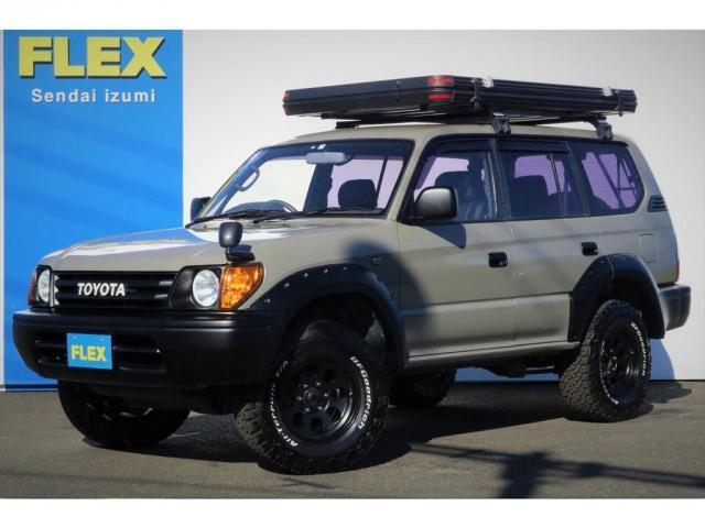 トヨタ ランドクルーザープラド TX 1KZ3000ccディーゼルターボ 丸目&ナローボディー換装 FLEXルーフアップテント ブッシュワーカーオーバーフェンダー ジムライン16AW&BFグッドリッチKO2 オレンジコーナー LEDテール