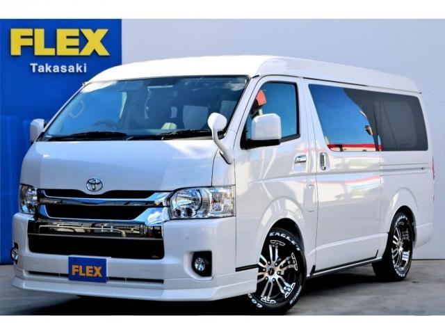 トヨタ GL ガソリン 4WD パールホワイト 6型 ローダウン フロントスポイラー オーバーフェンダー 17インチアルミ ホワイトレタータイヤ ベンチシート ベッド フロア施工 SDナビ ETC バックカメラ