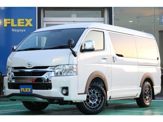 トヨタ GL FLEXORIGINALデニム内装Ver1.5/JAOSパーツスキットバー/オーバーフェンダー/マッドガード/フルセグナビ/フリップダウンモニター