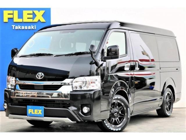 トヨタ GL ガソリン 4WD 6型 ブラック Ver2 1.15インチローダウン フェンダー バンパーガード 16インチアルミ ナスカータイヤ ベッド テーブル フロア施工 SDナビ ETC フリップダウン