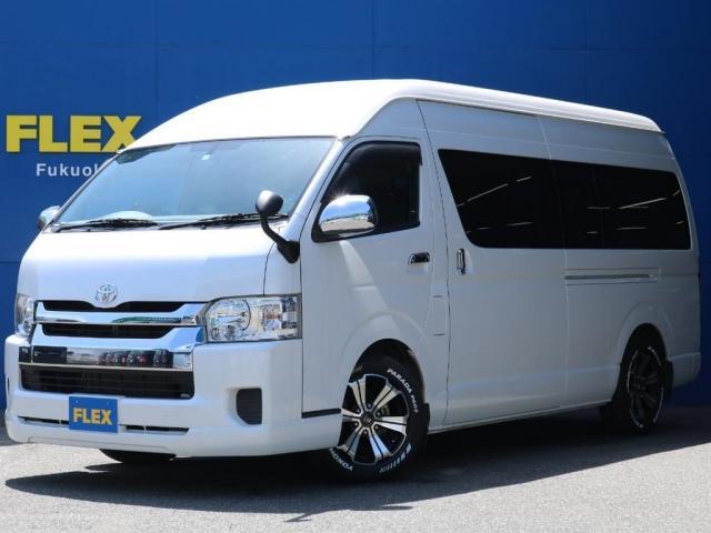 トヨタ ハイエースコミューター GL 1ナンバー 構造変更車両FLEXフロントリップスポイラーバルベロ グランデ 17インチAWYOKOHAMAタイヤ PARADA PA03イクリプス  AVN-04iW社外フリップダウンモニター