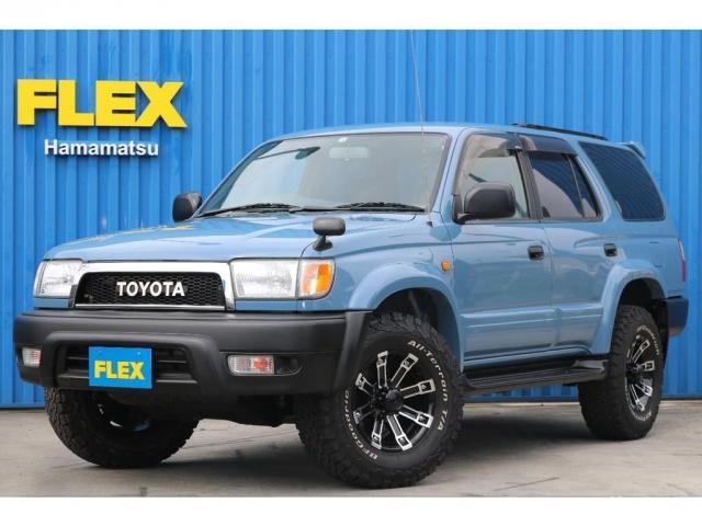 トヨタ ハイラックスサーフ SSR-X スモーキーブルーオールP 16インチAW BFグッドリッチタイヤ TOYOTAグリル USコーナー 新品ブラックシートカバー 背面タイヤレス パートタイム4WD