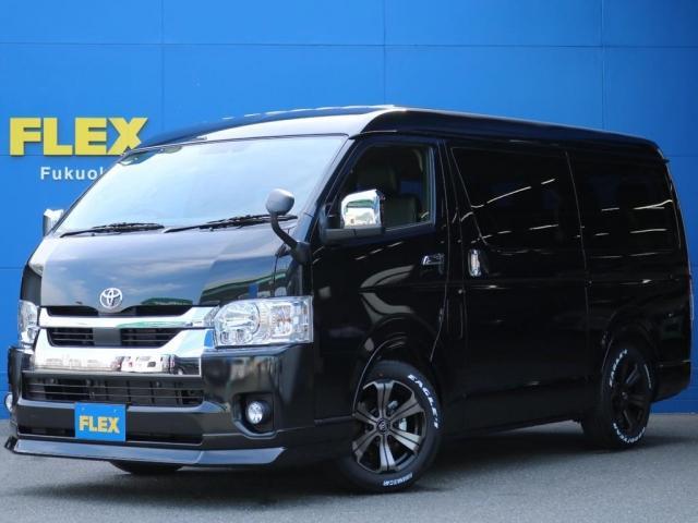 トヨタ ハイエースワゴン GL ロング パーキングサポートFLEX DelfinoLineフロントリップスポイラーFLEX アルティメットオーバーフェンダーFLEX17インチAWグッドイヤーナスカータイヤ1.5インチローダウン車中泊
